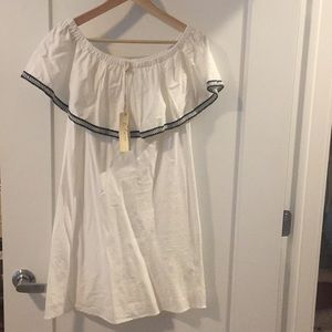 off the shoulder white dress- never worn tags on